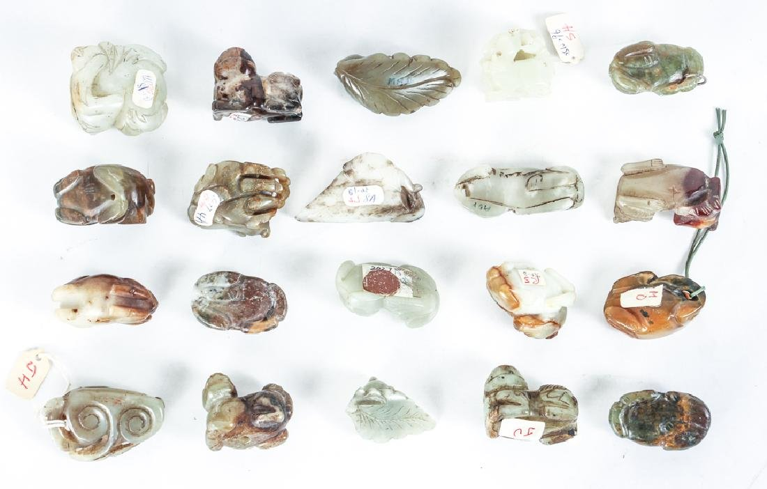 Twenty Diminutive Chinese Cat and Dog Jade or Nephrite