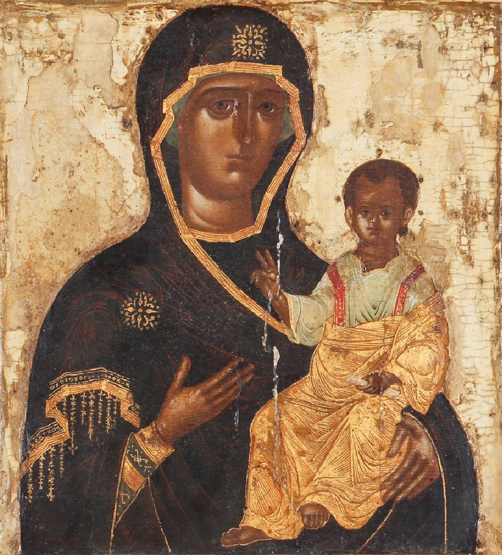 Antique Russian Icon of Holy Mother and Child