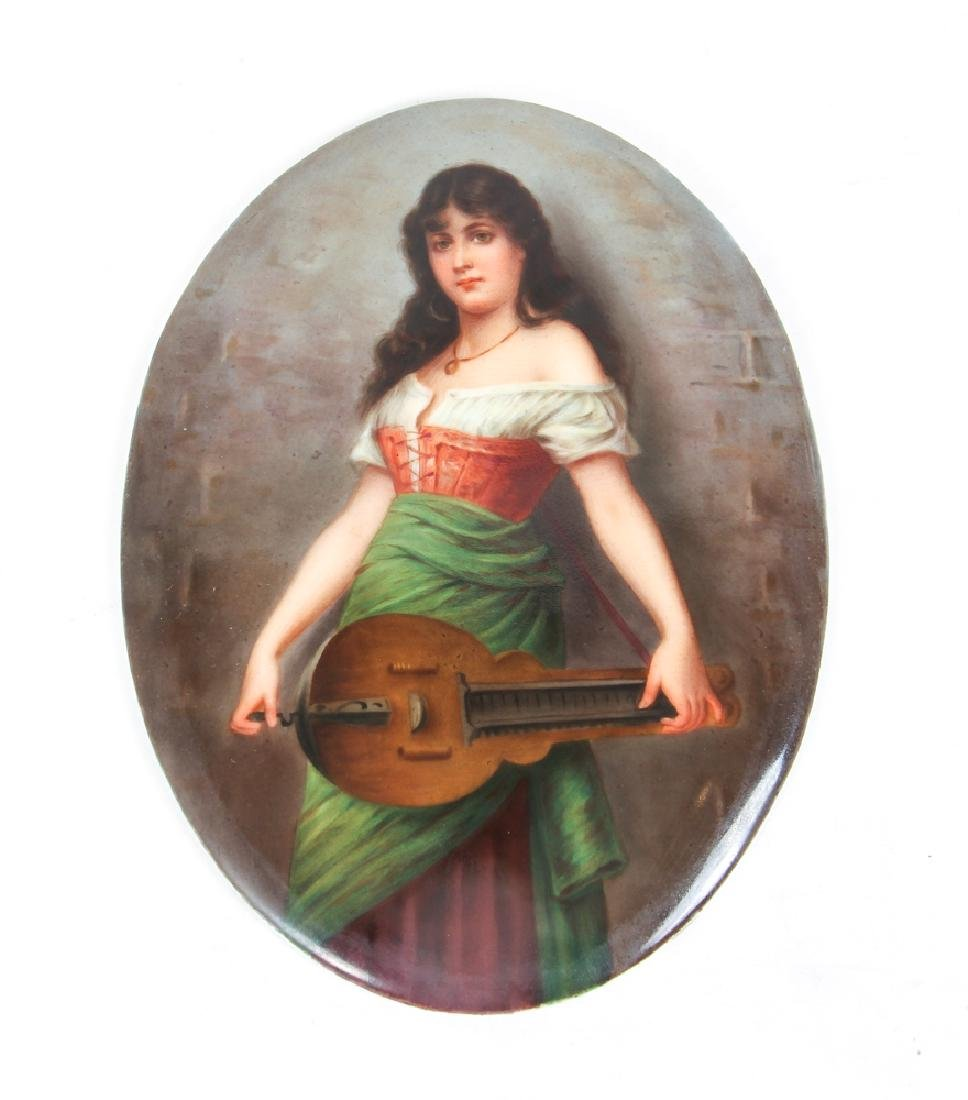Girl with Hurdy Gurdy German Painting on Porcelain