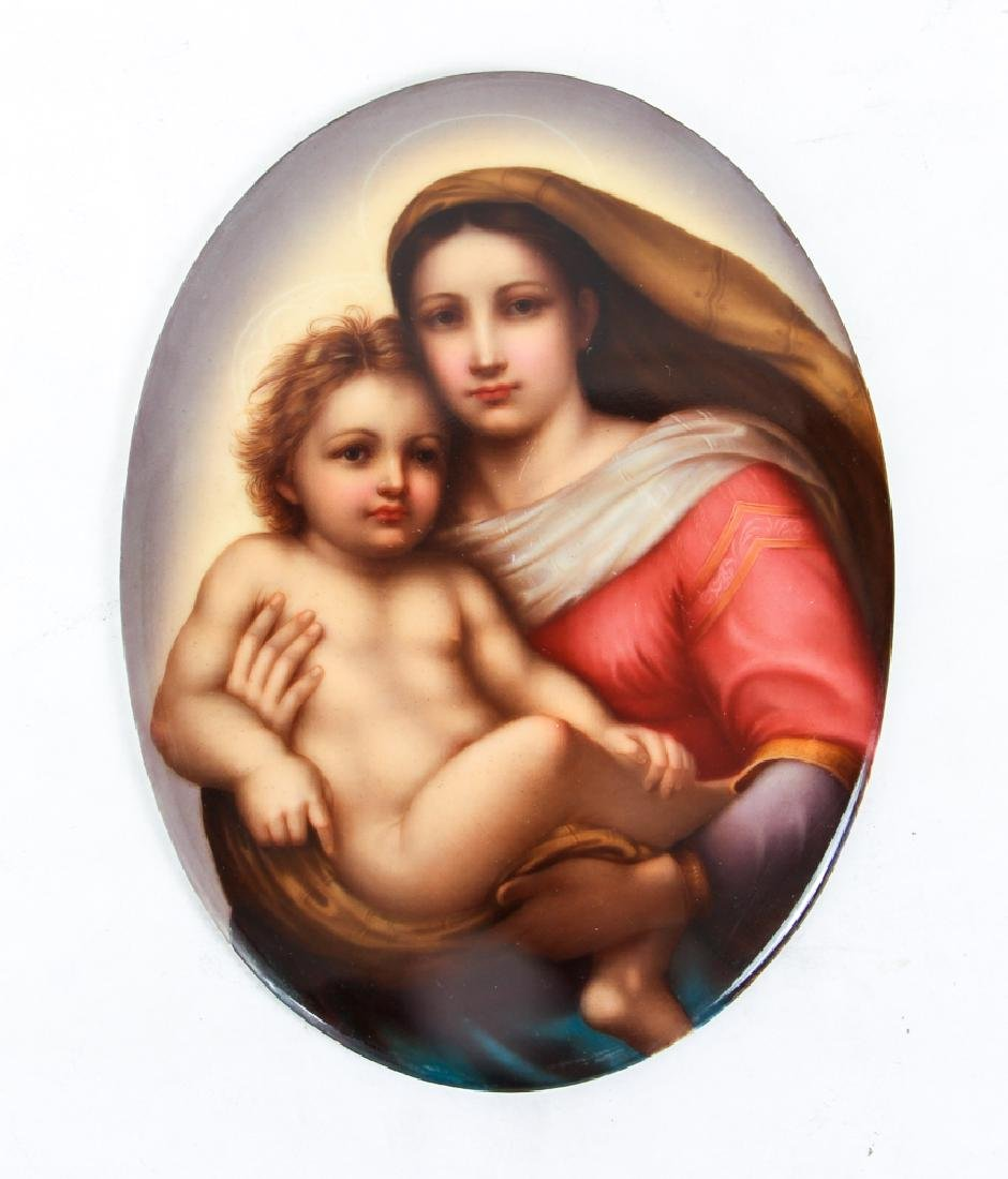 Madonna and Child Dresden Painting on Porcelain