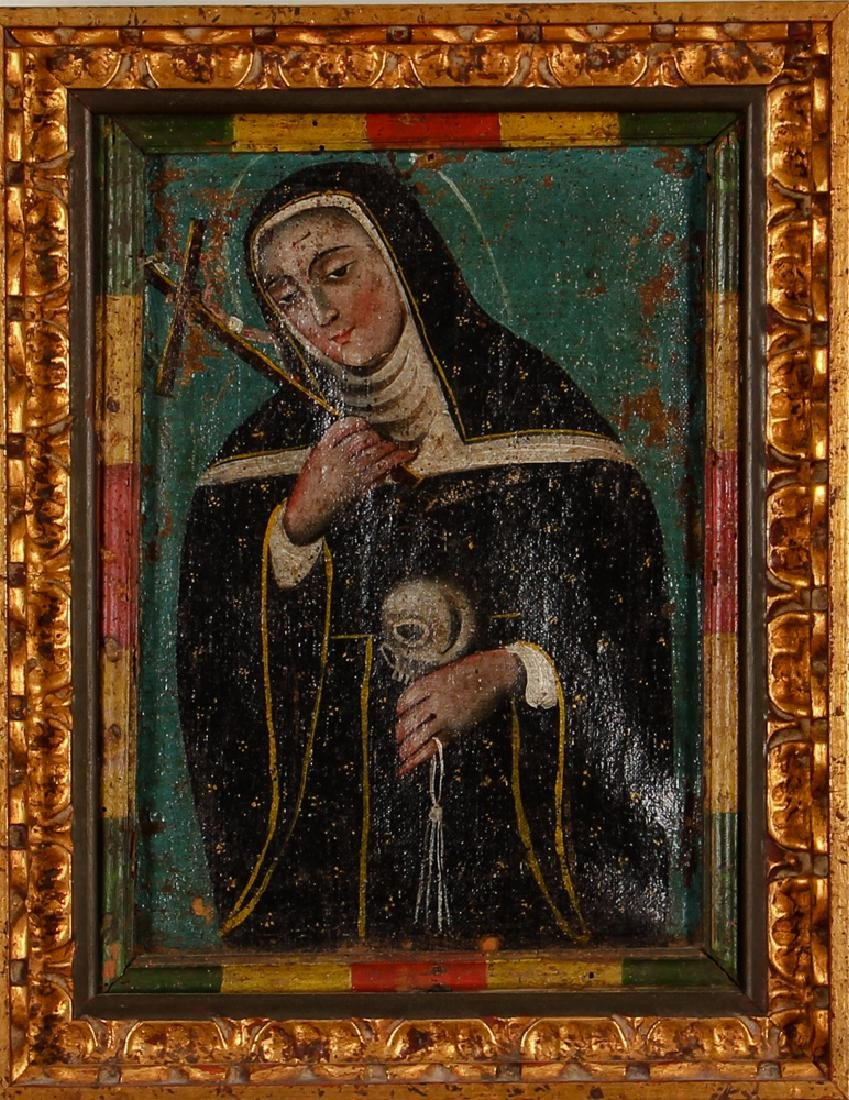 19th or Early 20th Century Mexican Retablos Painting