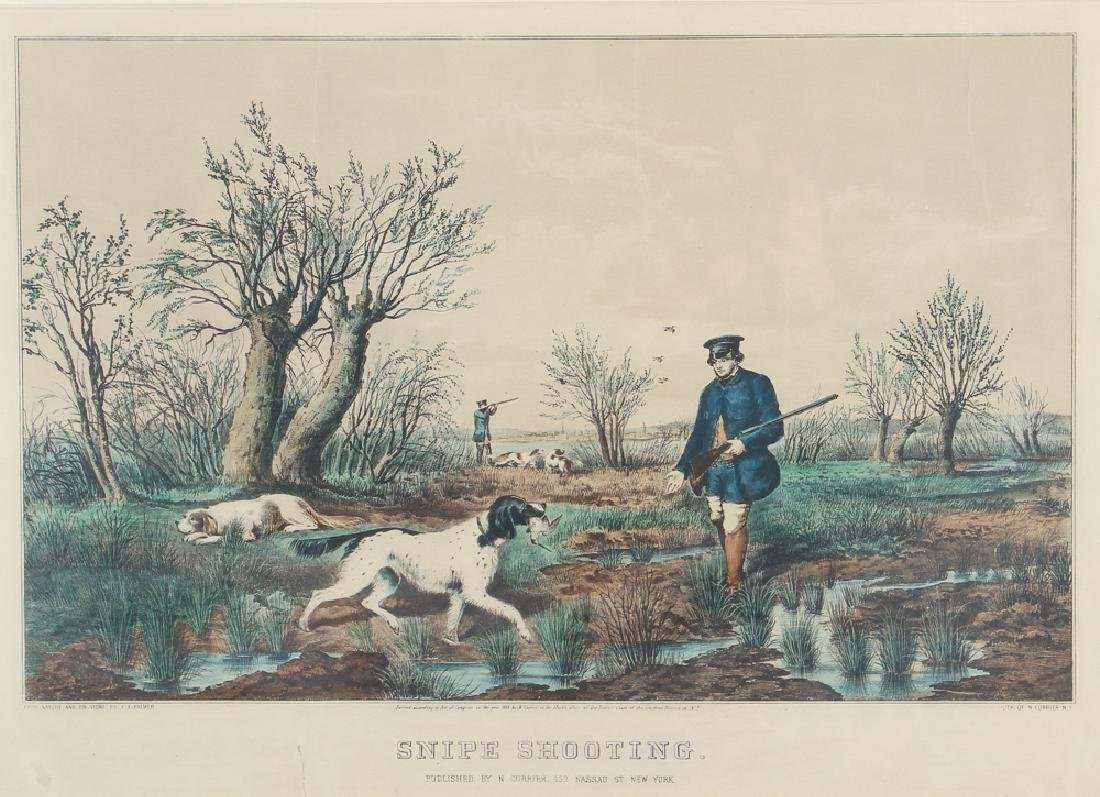 2 - Currier and Ives 1852 Chromolithographs Snipe and