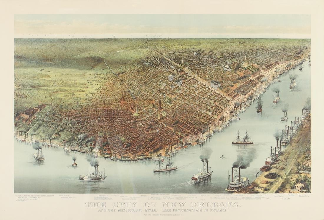Currier and Ives Bird's-eye view of New Orleans with