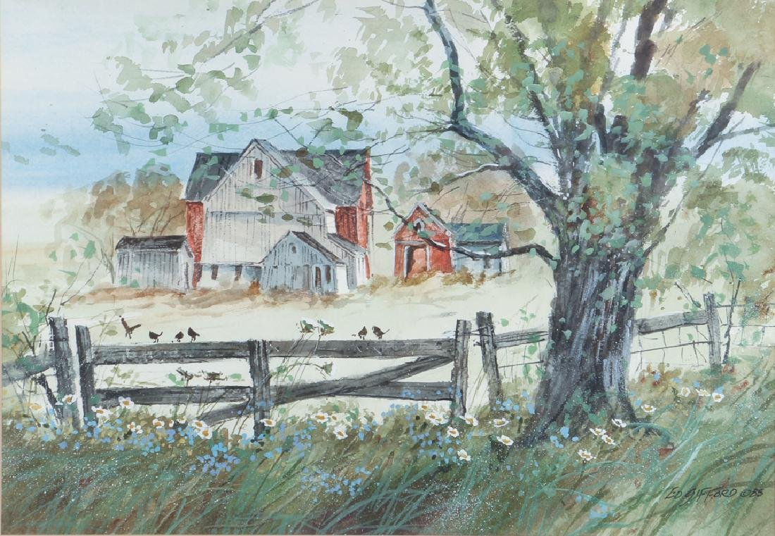 Edward Gifford Birds on Fence Watercolor