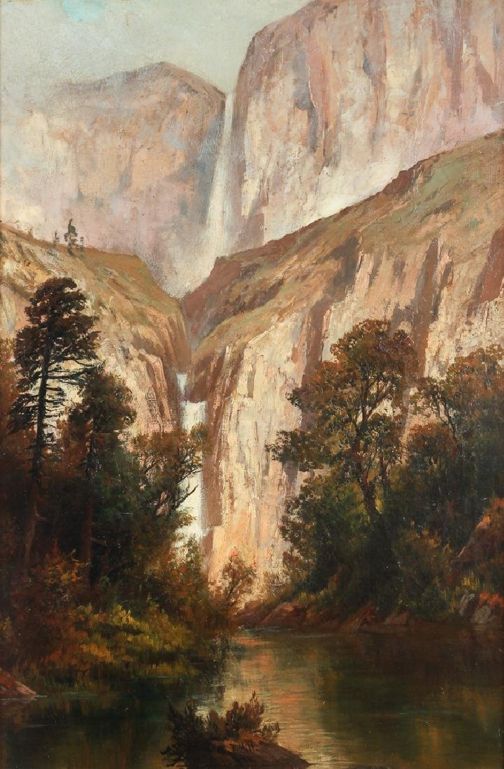 Thomas Hill Yosemite Valley Upper and Lower Falls ptg.