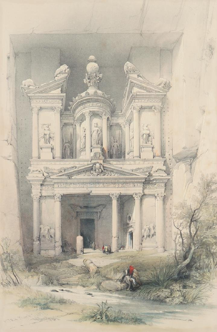 David Roberts framed lithograph Petra 1839 and Map
