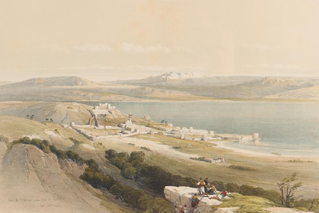 David Roberts lithograph City of Tiberius from the Sea