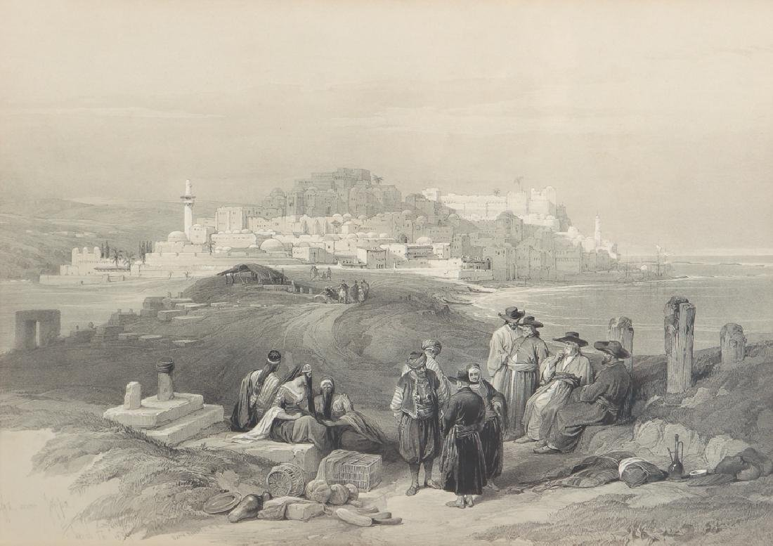 David Roberts framed lithograph Jaffa Looking East