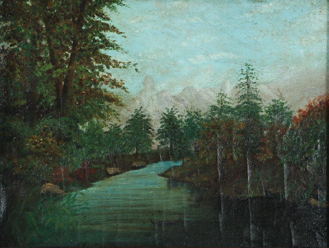 Naïve Landscape Painting of Western Pennsylvania Couple