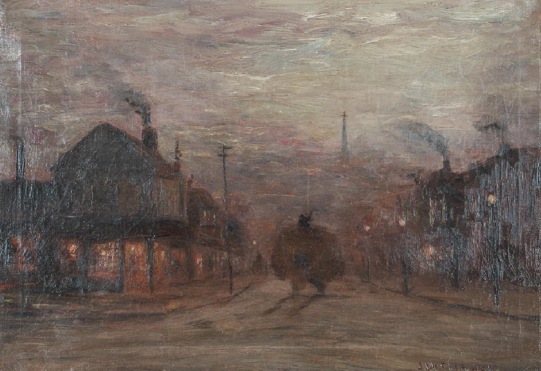 J W Flender Pittsburgh Street Scene Painting