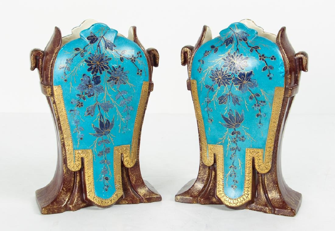 Pair French Ceramic Orientalist Garniture