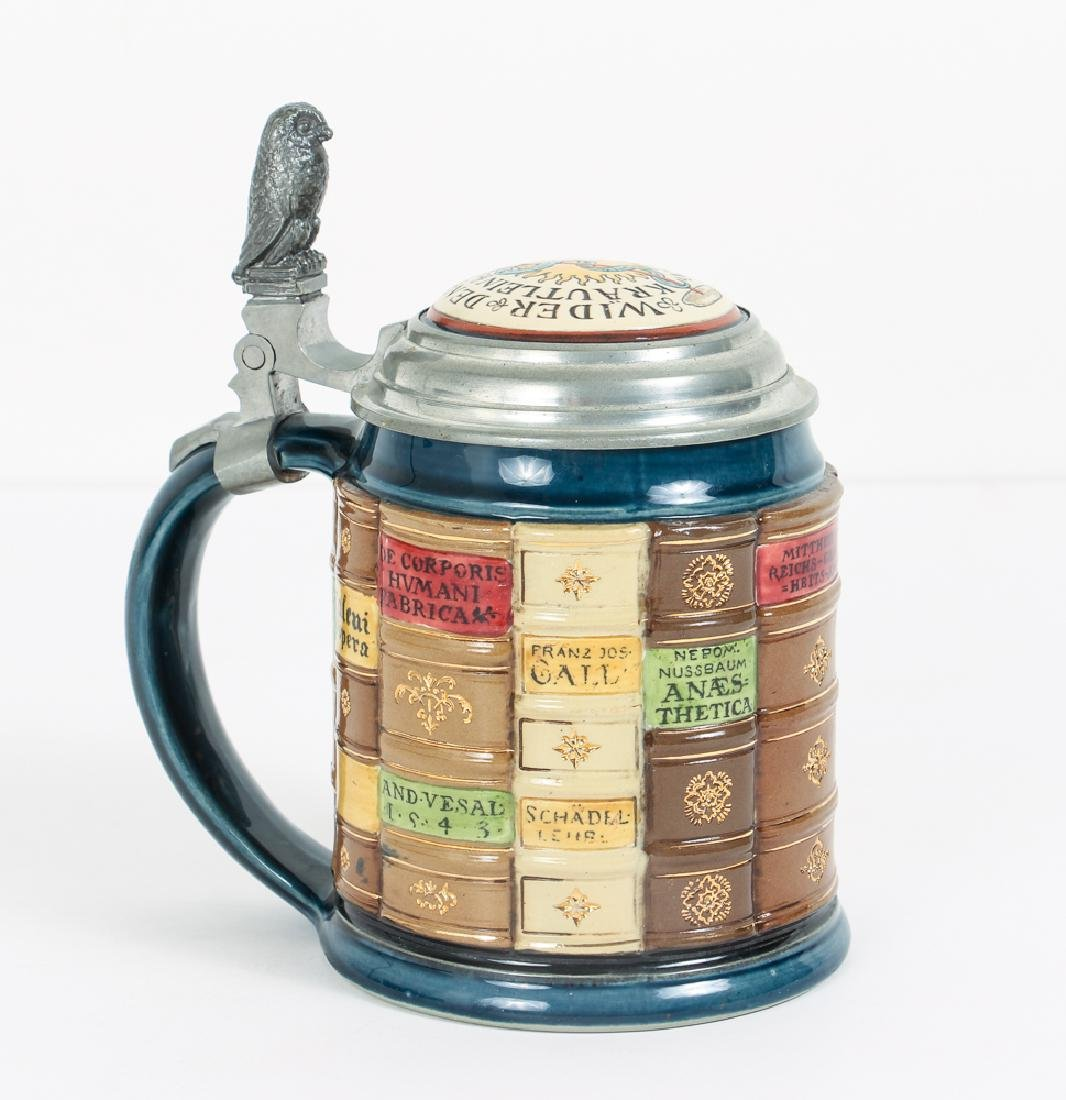 Mettlach Library Stein with Books and Inlaid Lid