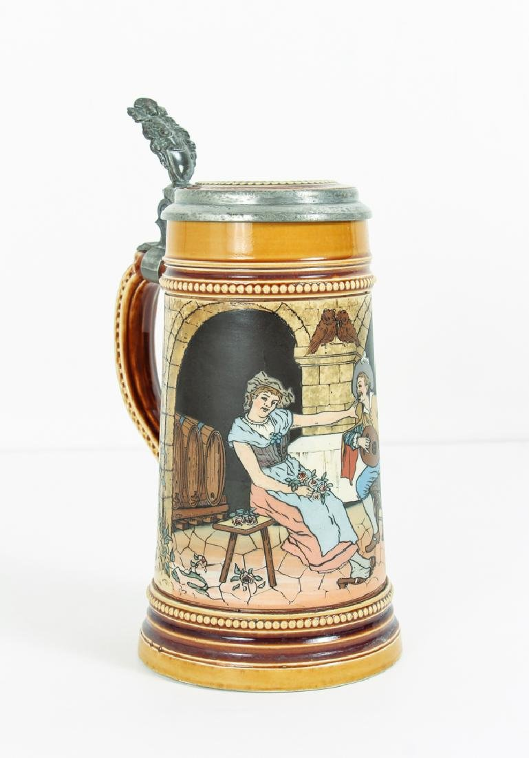 Mettlach Lovers Etched Stein