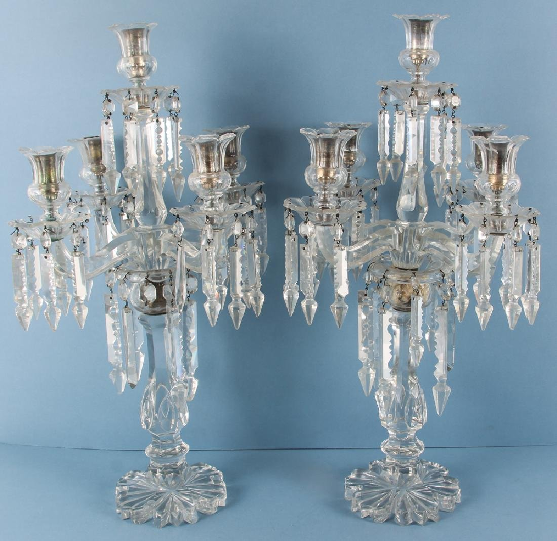 Pair of Five Light Crystal Candelabra