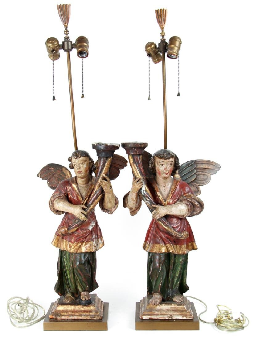 Pair of Polychrome Angel Candelabra
