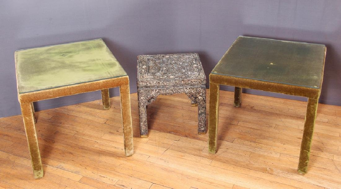2 Upholstered Tables with MOP inlaid Table,