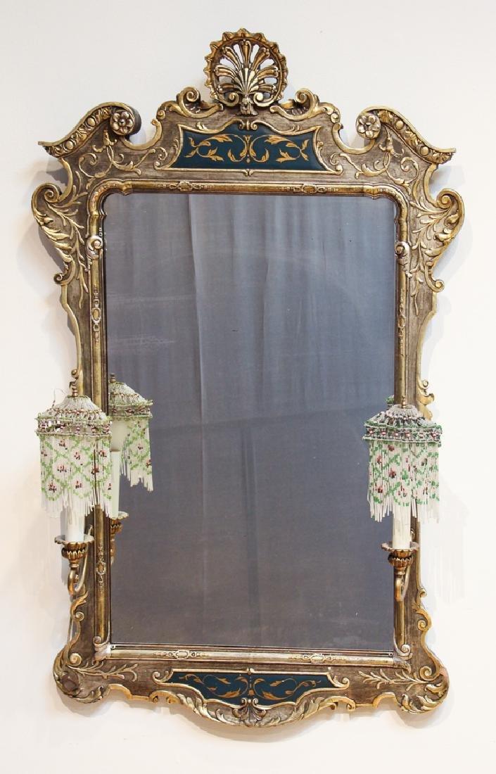 Florentine Style Silver Gilt  Mirror