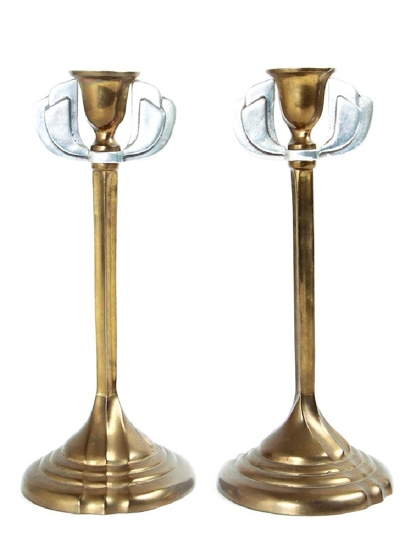Pair of Arts and Crafts Style Metal Candlesticks