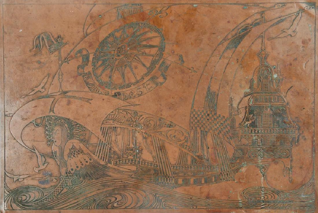 Willem Dieperink Langereis Arts and Crafts Copper Panel