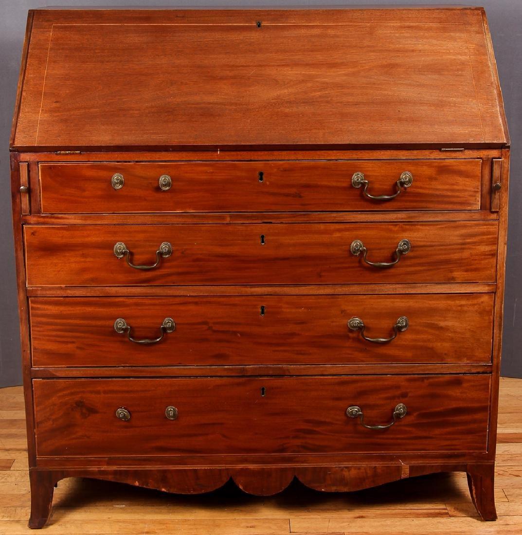 American Inlaid Mahogany Slant Front Desk