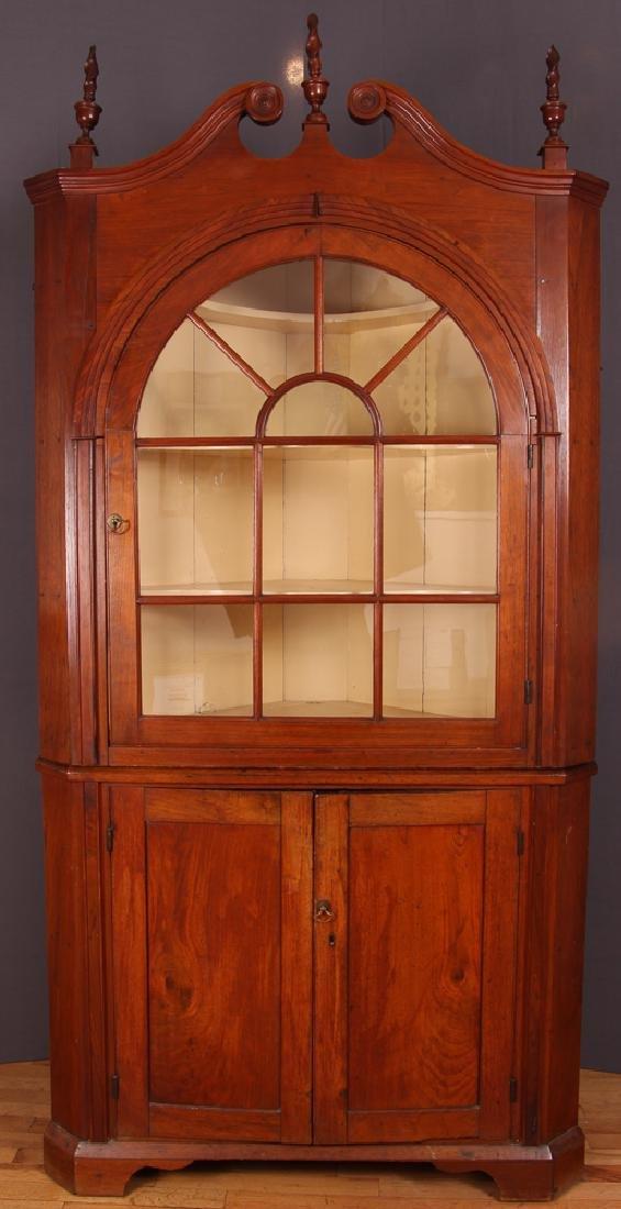 American Mahogany Corner Cupboard