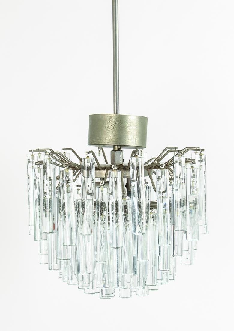 Mid Century Glass Prism and Metal Chandelier
