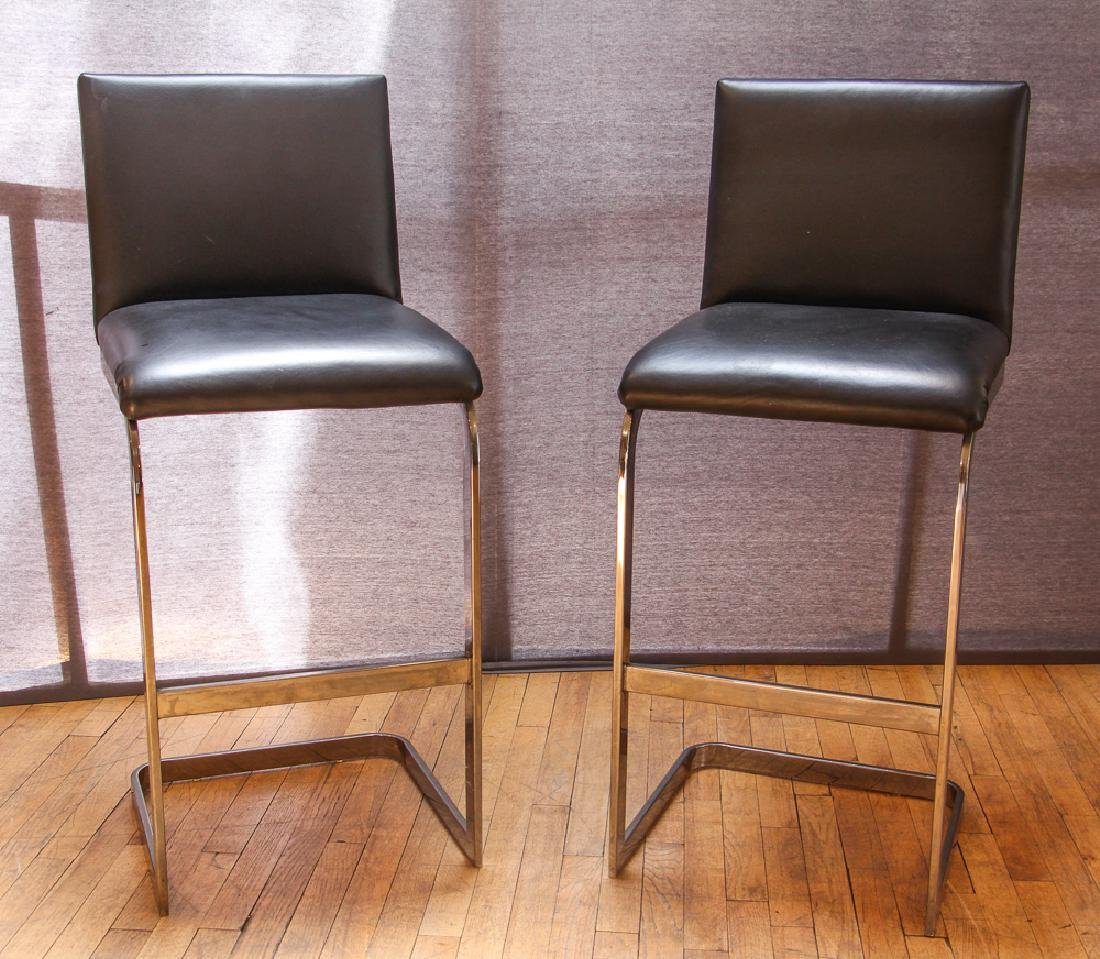 Pair of Custom Leather and Chrome Bar Stools