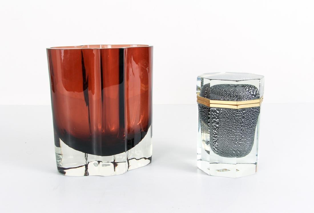 Modernist Decorative Art Glass Vase and Casket