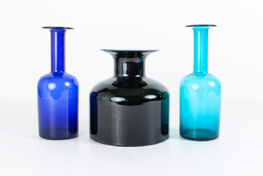 3 Scandinavian Holm Blown Glass Bottles
