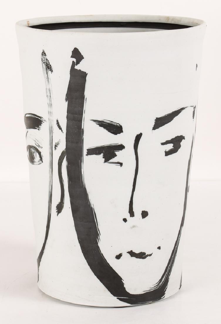 Edward Eberle Three Faces Ceramic Porcelain Vase