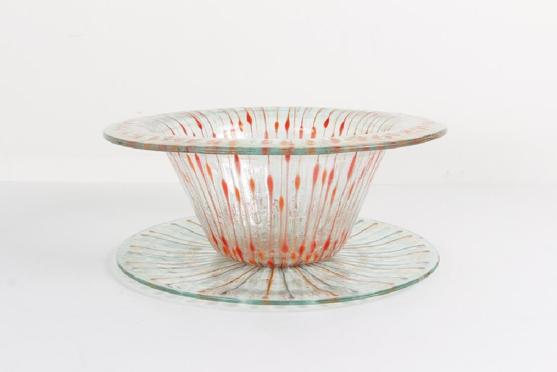 Higgins Art Glass Bowl and Platter