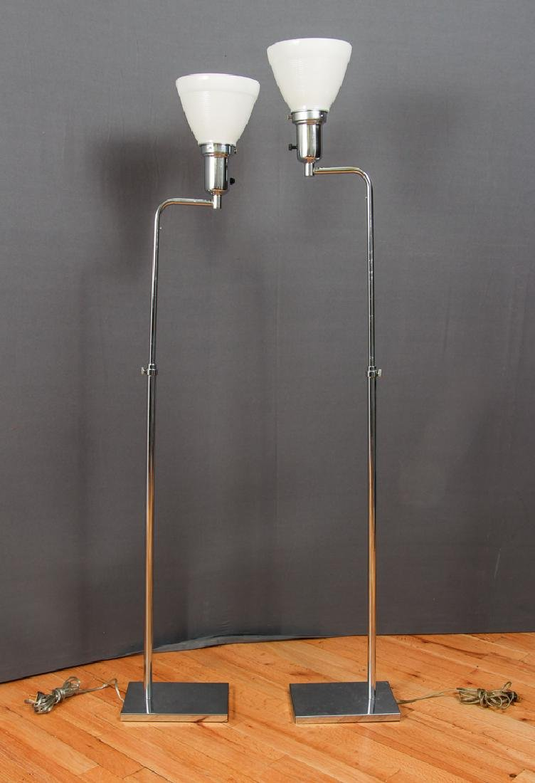 Pair of Koch and Lowy Modern Chrome Floor Lamps