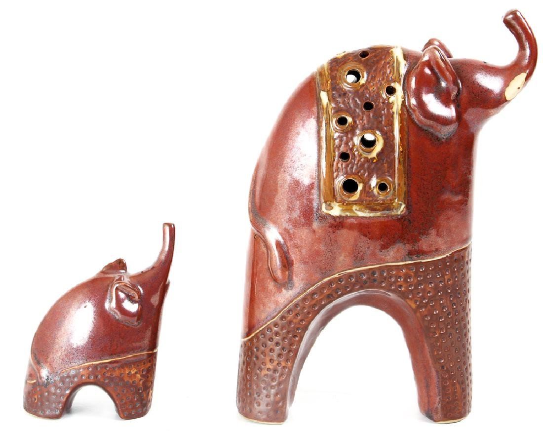 Mid Century Modern Scandinavian Pottery Elephants