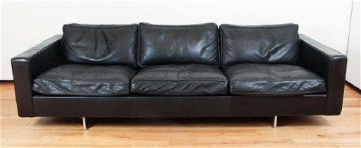 Jens Risom Design Inc 3 Cushion Leather Sofa