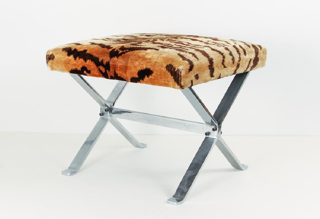 Stool with Tiger Velvet Brunschwig and Fils upholstery