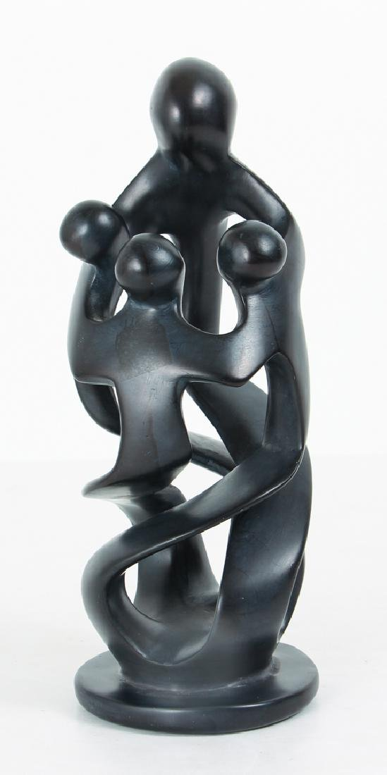 Abstracted Modernist Statue of Figures Embracing
