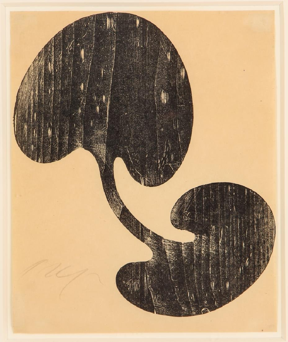 Jean Arp pencil signed 1949 woodcut Siamese Leaf