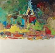 Lois Kaufman oil on canvas, Abstracted Landscape II