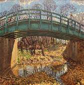 Kevin Kutz Oil on Board Girl on a Bridge