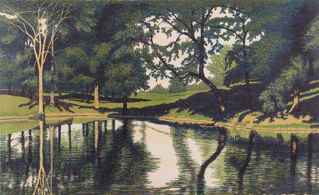 Gordon Mortensen Catlin Pond Woodcut