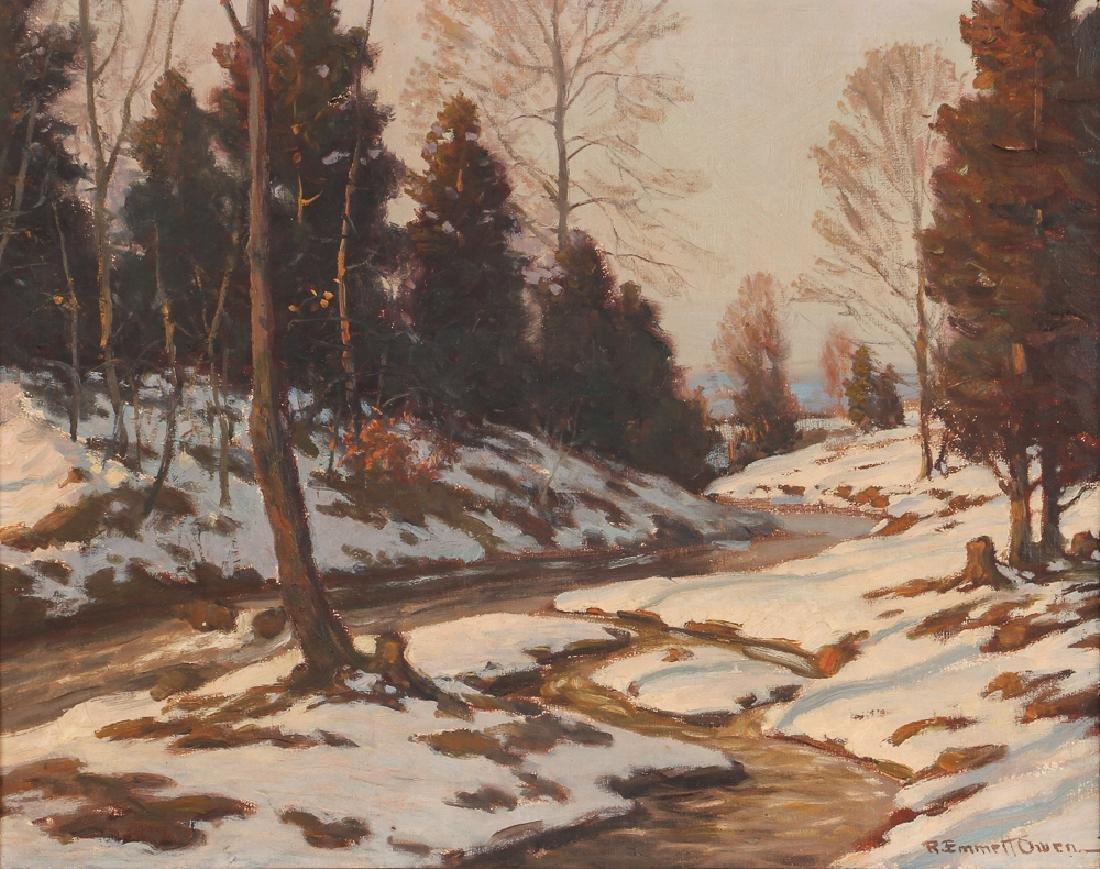 R. Emmett Owen Oil on Canvas Winter Stream