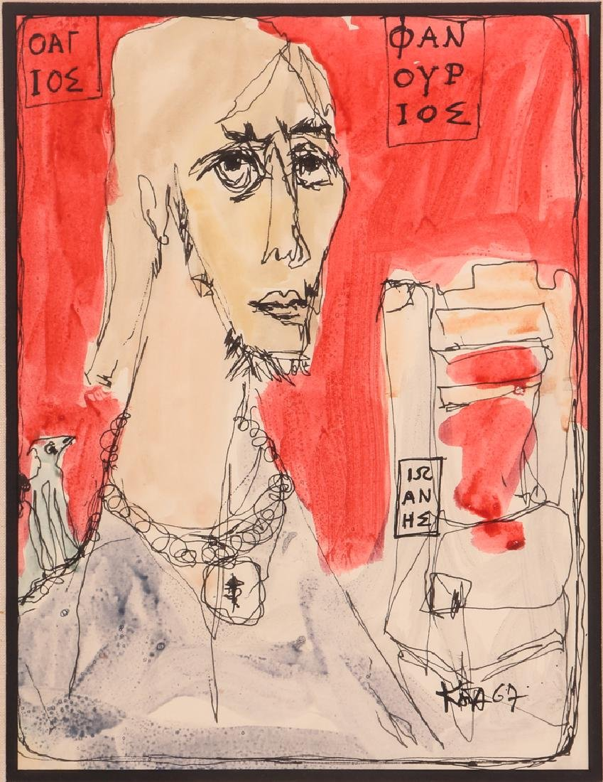 Kay Johnson watercolor drawing Man with Necklace 1967