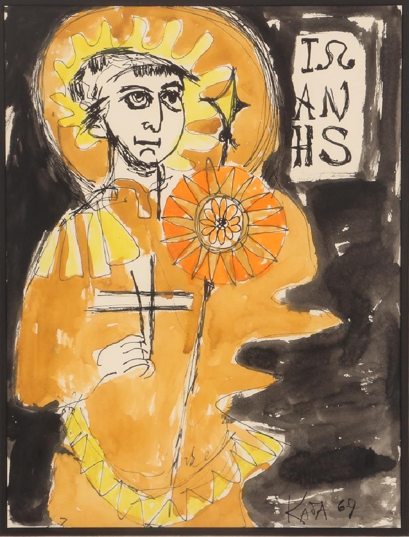 Kay Johnson watercolor drawing Saint 1967