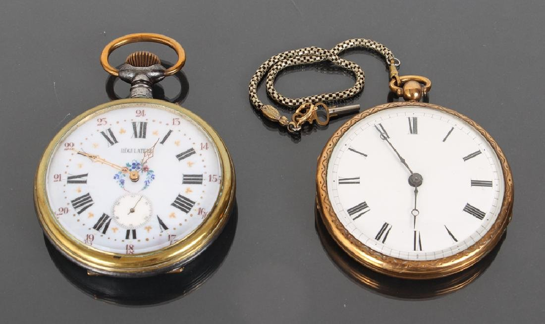 Two Large Pocket Watch Style Clocks