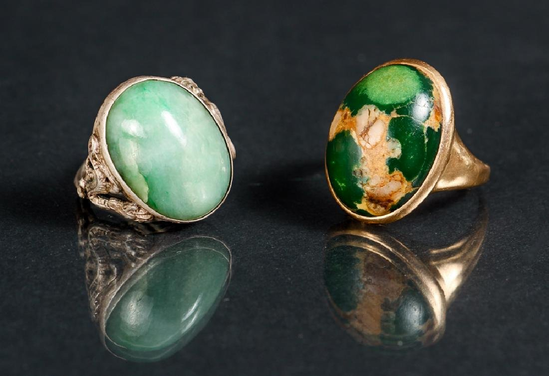 Two Green Mineral Cabochon Rings