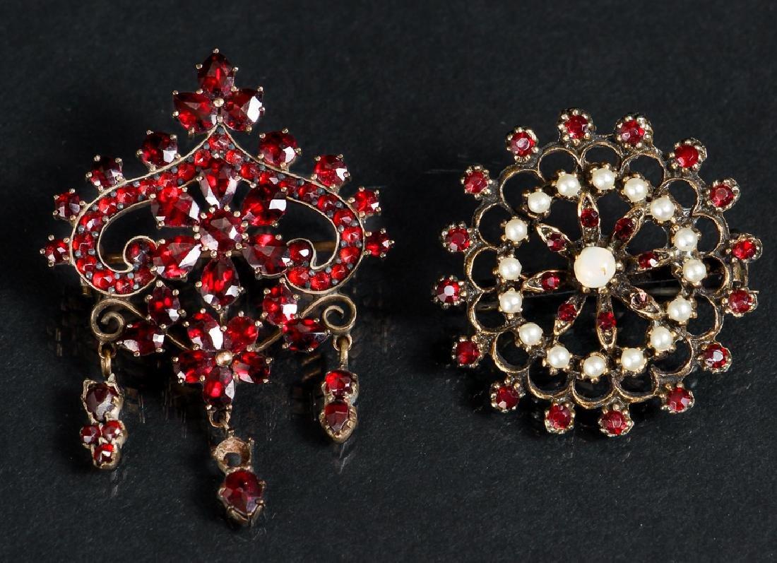 Two Victorian Garnet Pins