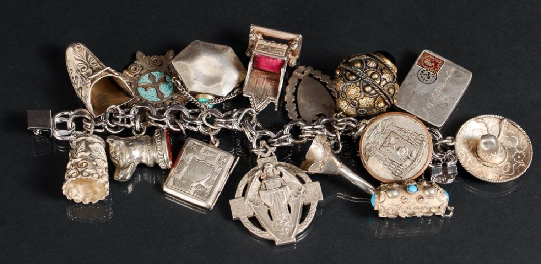 Sterling Silver Charm Bracelet With Large Charms