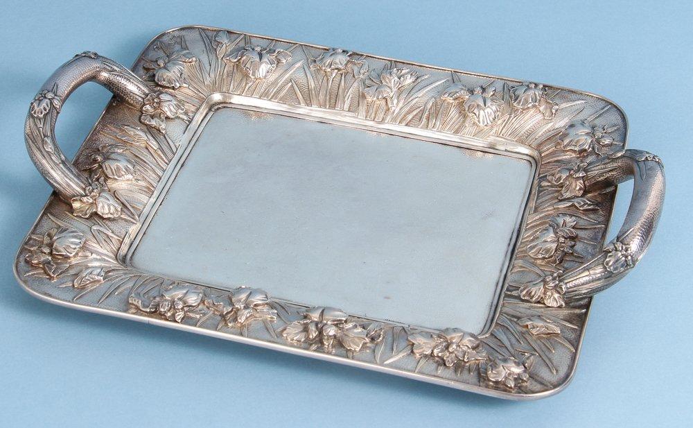 Japanese Silver Iris Themed Tray
