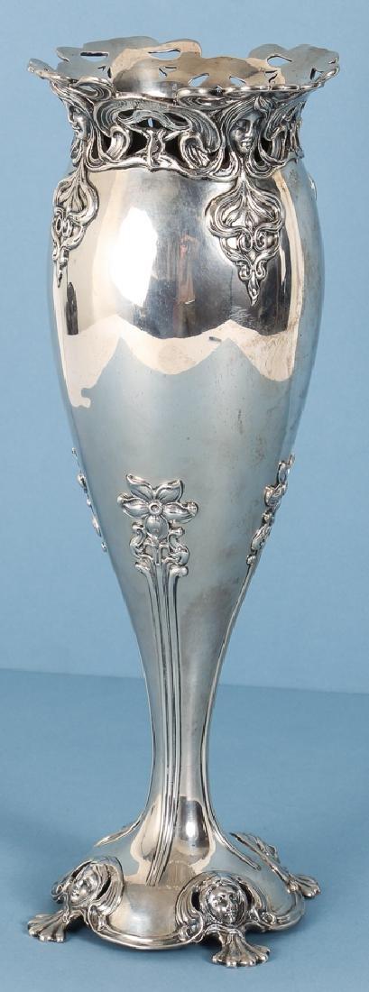Mauser Sterling Silver Art Nouveau Vase