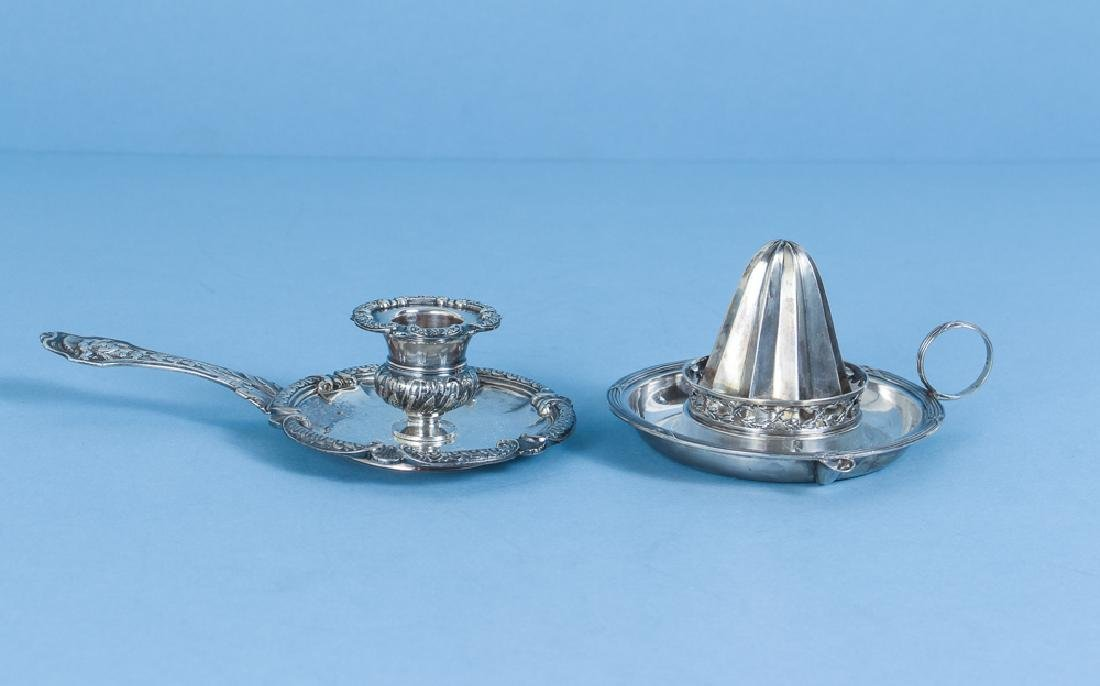 Antique French Sterling Silver Juicer and Candlestick